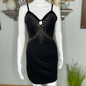 Bebe Black Studded Cut Out Bodycon Dress Size Sm